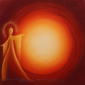 Roter-Oranger Engel, dunkelroter Hintergrund, Mitte mit Licht, Pastellkreide-Kunst