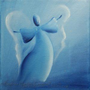 hellblauer Engel- weiss, dunkelblau, Engel-Kunst
