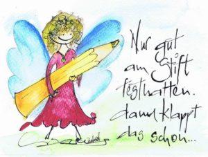 Engel mit grossem Stift. Nur gut am Stift festhalten, dann klappt das schon.
