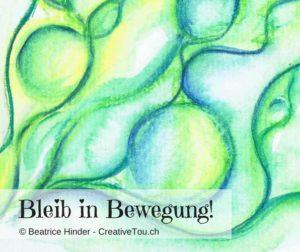 Mal-mit-Stift, Bleib-in-Bewegung, Linien hellgrün-grün