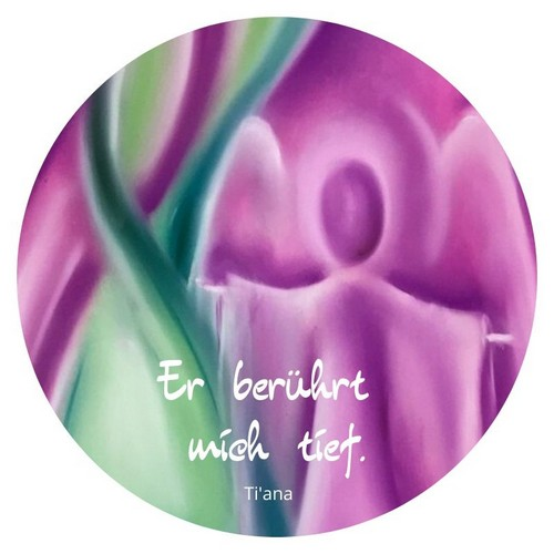 Er berührt mich tief. Engel in Pink-Grün-Türkis