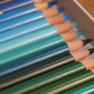 Mal-mit-Stift, Farbstifte grün-blau